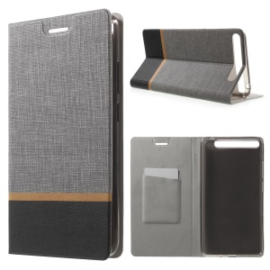 Cross Texture Leather Card Holder Stand Cover for Lenovo Phab Plus - Grey