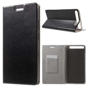 Textured Card Holder Leather Stand Case for Lenovo Phab Plus - Black