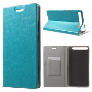 Textured Card Holder Leather Stand Shell for Lenovo Phab Plus - Blue