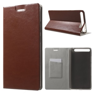 Textured Card Holder Leather Stand Flip Case for Lenovo Phab Plus - Brown