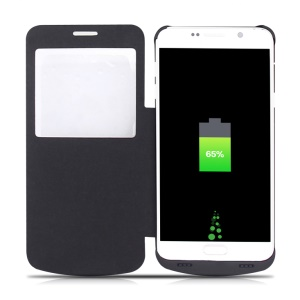 4200mAh Leather Flip Battery Charger Case for Samsung Galaxy Note5 SM-N920 - Black