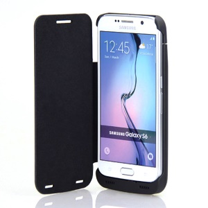 4200mAh Folio Leather Battery Charger Case for Samsung Galaxy S6 G920 - Black