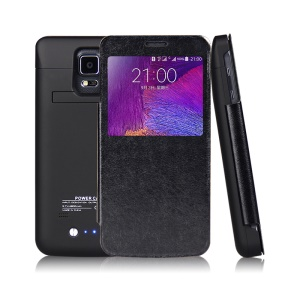 4800mAh Window View Flip Leather Battery Charger Case for Samsung Galaxy Note 4 N910 - Black