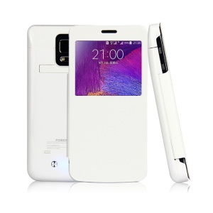 4800mAh Window View Flip Leather Battery Charger Cover for Samsung Galaxy Note 4 N910 - White