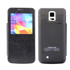 3800mAh Battery Charger Case with Leather Window Cover for Samsung Galaxy S5 G900 - Black