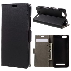 Flip Leather Wallet Stand Case for Lenovo Vibe C A2020 - Black