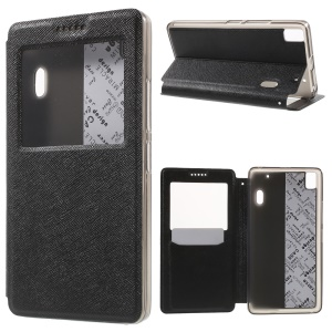 Cross Texture Window Leather Stand Case for Lenovo A7000 / A7000 Plus/ K3 Note K50-t5 - Black