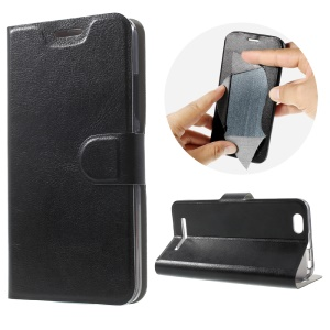 Crazy Horse Leather Stand Case for Lenovo Vibe C A2020 Built-in Steel Sheet - Black