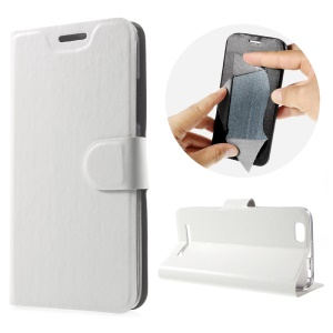 Crazy Horse Leather Stand Cover for Lenovo Vibe C A2020 Built-in Steel Sheet - White