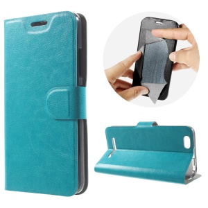 Crazy Horse Card Holder Leather Case for Lenovo Vibe C A2020 Built-in Steel Sheet - Blue