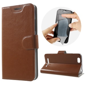 Crazy Horse Leather Stand Phone Cover for Lenovo Vibe C A2020 Built-in Steel Sheet - Brown