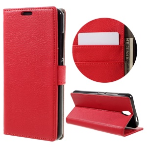 Litchi Skin Leather Card Holder Case for Lenovo Vibe S1 Lite - Red