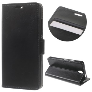 Crazy Horse Leather Wallet Stand Case for Lenovo Vibe S1 Lite - Black