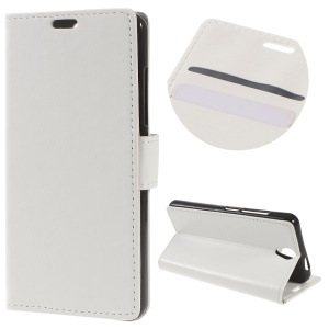 Crazy Horse Leather Wallet Stand Cover for Lenovo Vibe S1 Lite - White