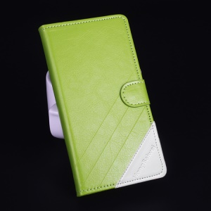 Contrast Color Leather Stand Shell for Lenovo A5000 5.0-inch - Green