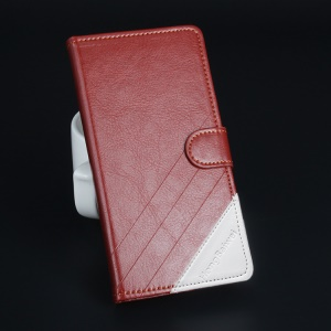 Assorted Color Stand Faux Leather Case with Card Holder for Lenovo A536 - Brown