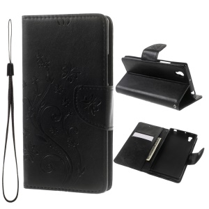 Imprint Flower Leather Wallet Stand Case for Lenovo P70 with Handy Strap - Black