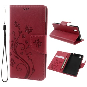Imprint Flower Folio Leather Wallet Shell for Lenovo P70 with Handy Strap - Red