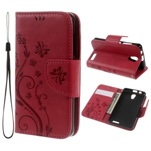 For Lenovo A319 Imprint Flower Butterfly Wallet Stand Leather Case - Red