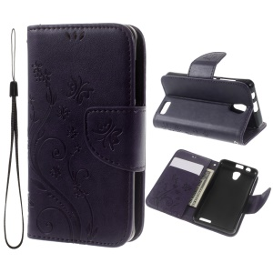 For Lenovo A319 Imprint Flower Butterfly Leather Phone Case with Stand - Purple