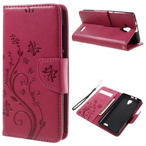 Imprint Flower Butterfly Leather Wallet Shell for Lenovo A536 - Rose