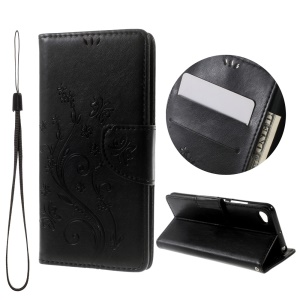 Flower Imprint Leather Wallet Stand Case for Lenovo Sisley S90 with Lanyard - Black
