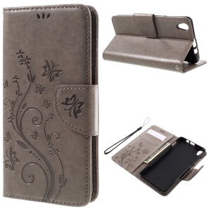 Floral Butterfly Flip Leather Cover with Wrist Strap for Lenovo S850 - Grey