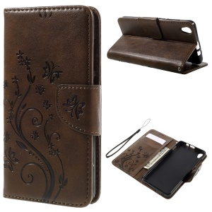 Floral Butterfly Leather Flip Cover with Wallet Slots for Lenovo S850 - Coffee