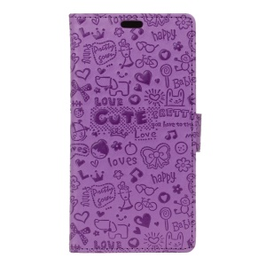 Cartoon Graffiti PU Leather Wallet Flip Shell for Lenovo ZUK Z2 Pro - Purple