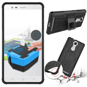 Shock-proof Textured Silicone + PC Hybrid Case for Lenovo K5 Note with Kickstand - Black