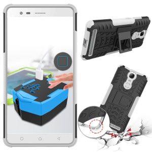 Shock-proof Textured Silicone + PC Hybrid Cover for Lenovo K5 Note with Kickstand - White