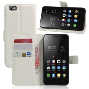Lychee Skin Leather Wallet Cover for Lenovo Vibe C A2020 - White