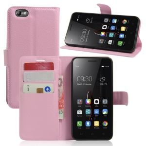 Lychee Skin Phone Leather Wallet Case for Lenovo Vibe C A2020 - Pink