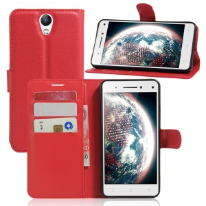 Lychee Leather Card Holder Case for Lenovo Vibe S1 Lite - Red
