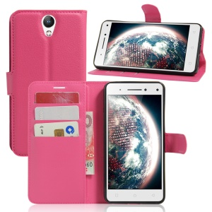 Lychee Leather Card Holder Cover for Lenovo Vibe S1 Lite - Rose