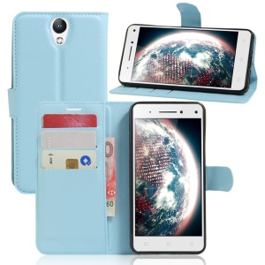Lychee Leather Stand Cover for Lenovo Vibe S1 Lite - Blue
