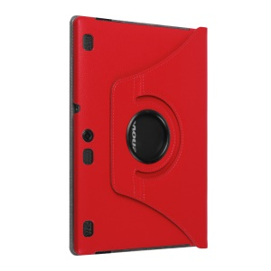 Litchi Leather Flip Cover for Lenovo Tab3 10 with Rotary Stand - Red