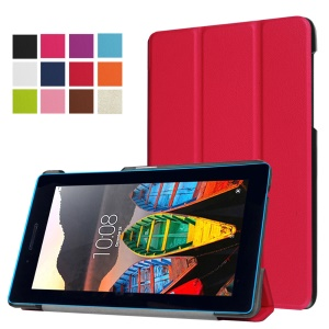 Tri-fold Stand Leather Cover Case for Lenovo Tab3 7.0 730M - Red