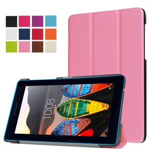 Leather Case with Tri-fold Stand for Lenovo Tab3 7 - Pink
