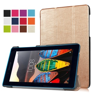 Tri-fold Stand Leather Protective Case for Lenovo Tab3 7.0 730M - Champagne