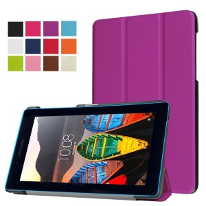 Tri-fold Stand Protective Leather Case for Lenovo Tab3 7 - Purple