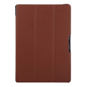 Tri-fold Stand Protective Leather Shell Case for Lenovo Tab3 10 - Brown