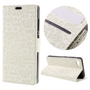 Cartoon Graffiti Leather Case for Lenovo ZUK Z2 with Stand Wallet - White