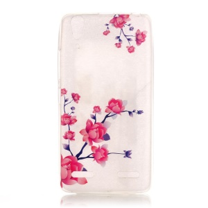 Clear IMD TPU Back Case for Lenovo A6000/A6000 Plus - Blooming Flowers