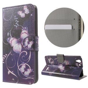Wallet Leather Stand Cover for Lenovo Vibe K5 Plus / Vibe K5 - Purple Butterflies