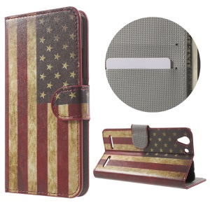 Wallet Leather Stand Case for Lenovo Vibe K5 Plus / Vibe K5 - Retro American Flag