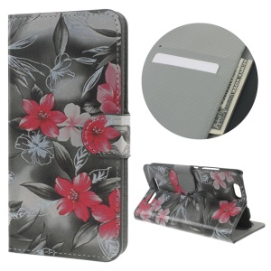 Protective Leather Wallet Phone Cover for Lenovo Vibe C A2020 - Red Flowers