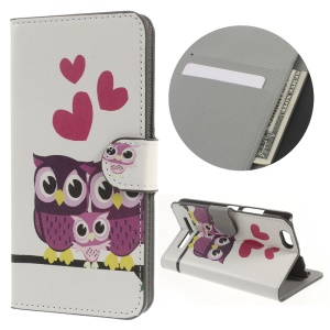 Card Holder Stand Leather Cover Case for Lenovo Vibe C A2020 - Sweet Owl Family