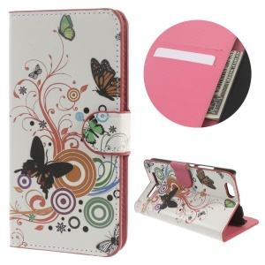 Dual-sided Magnetic Leather Wallet Cover for Lenovo Vibe C A2020 - Butterfly Circles