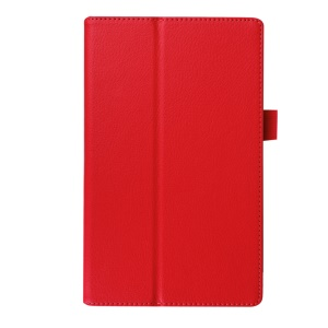 Litchi Texture Stand Leather Cover for Lenovo Tab3 8 - Red